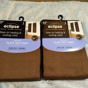 """Eclipse Black Out """"Braxton"""" Brown Curtain Panels"""
